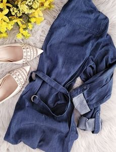 Basic Editions Jean Chambray Belted Shirt Dress